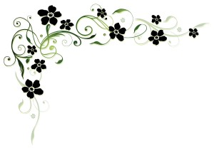 Black-flower-with-floral-decor-vector
