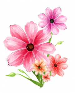 Hand-drawn-flower-pink-psd-graphic